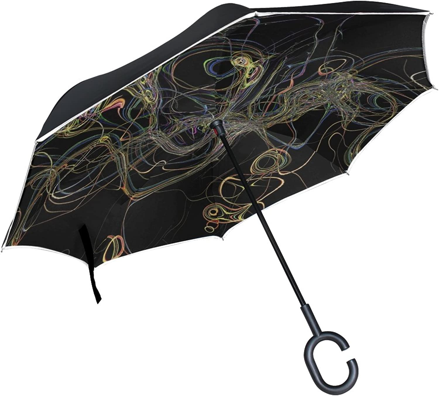 Double Layer Ingreened Tangle Circle Abstract Pattern Movement Umbrellas Reverse Folding Umbrella Windproof Uv Predection Big Straight Umbrella for Car Rain Outdoor with CShaped Handle