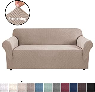 H.VERSAILTEX Modern Spandex 1 Piece Sofa Cover Lycra Jacquard High Stretch Sofa Slipcover Stylish Furniture Cover/Protector Sofa Cover for 3 Cushion Couch Machine Washable - Large - Sand