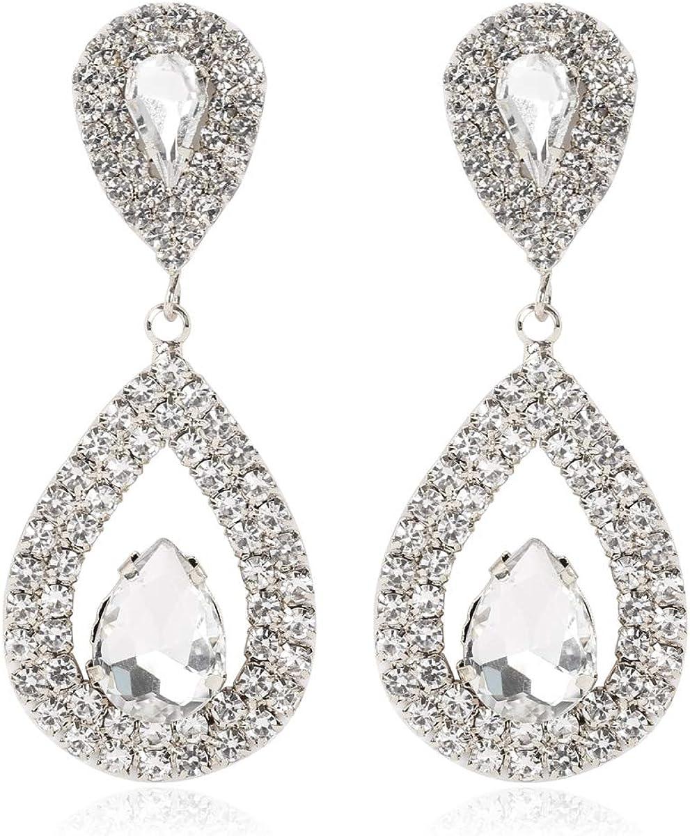 Sparkly Rhinestone Jewel Drop Statement - Weddin Max 40% OFF Cheap sale Earrings Bridal