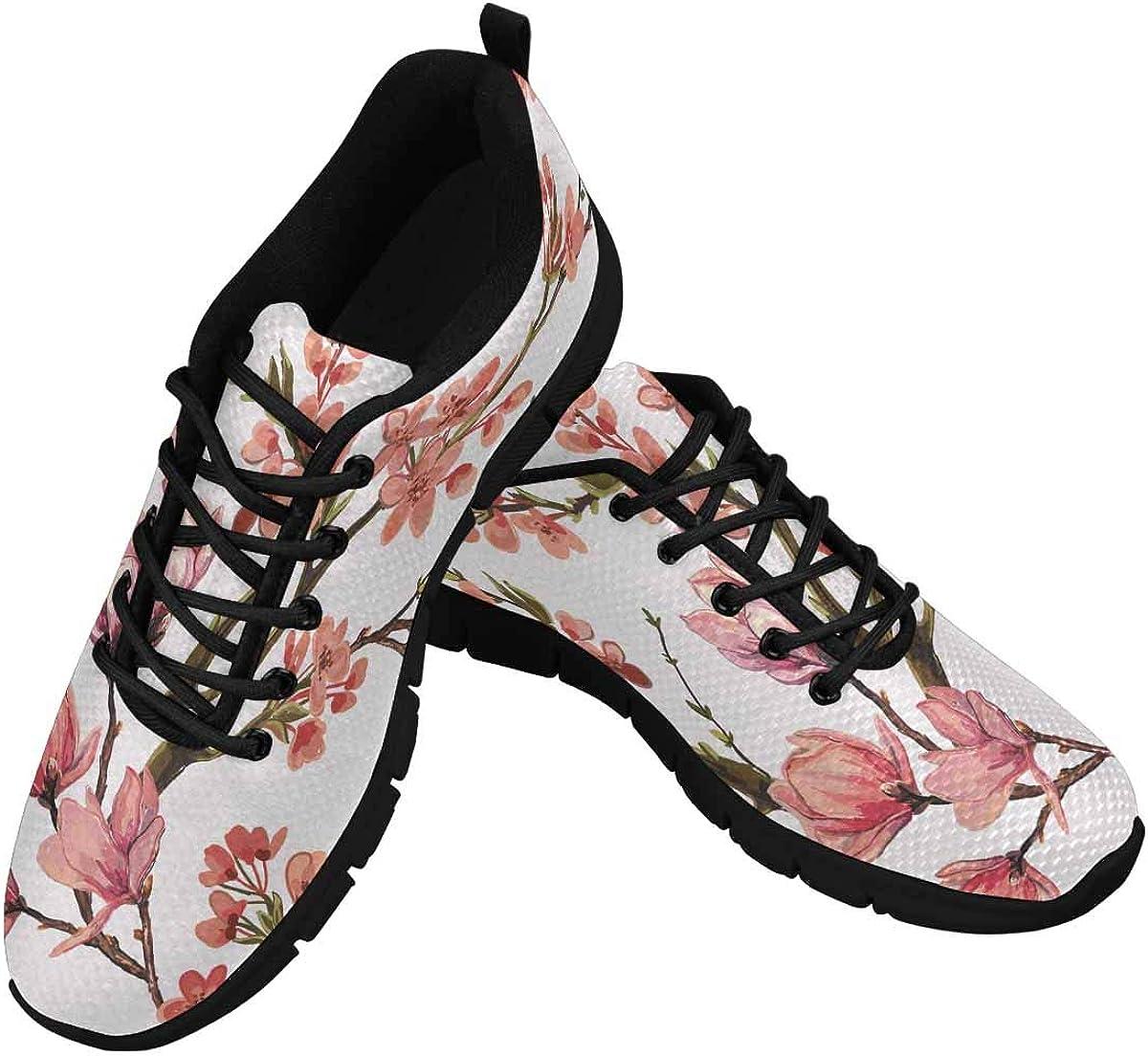 INTERESTPRINT Pink Japanese Cherry Blossom Women's Tennis Running Shoes Lightweight Sneakers