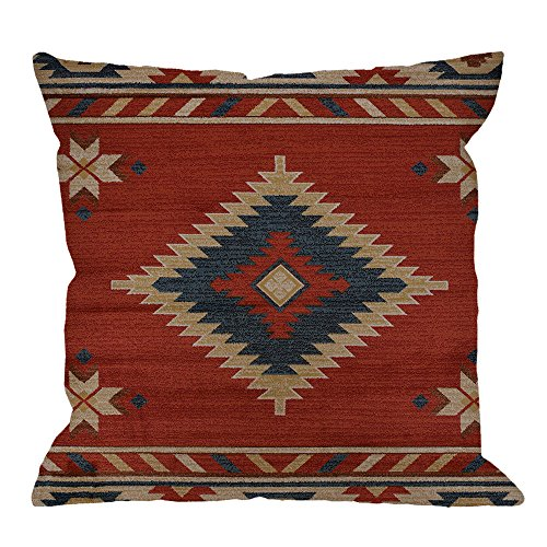 HGOD DESIGNS Vintage Southwest Native American Throw Pillow Case,Cotton Linen Cushion Cover Square Standard Home Decorative for Men/Women 18x18 inch Red