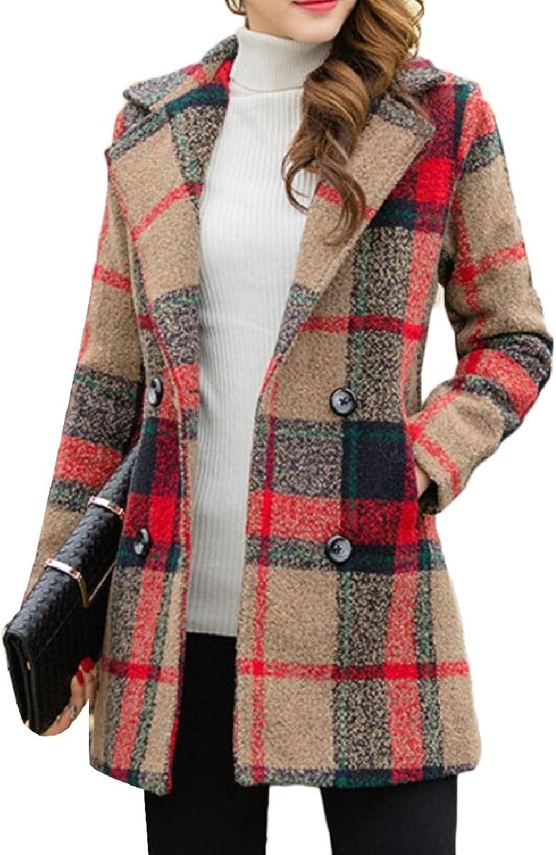 CBTLVSN Women's Woolen Jacket Vintage Plaid Button Front Fashion Coat