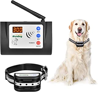 Wireless Fence - Electric Dog Fence Wireless, Safe Dog Containment System, Adjustable Range Up to 1000 Feet & LED Distance Display, IP65 Waterproof & Rechargeable Collar, Tone & Shock Working Mode