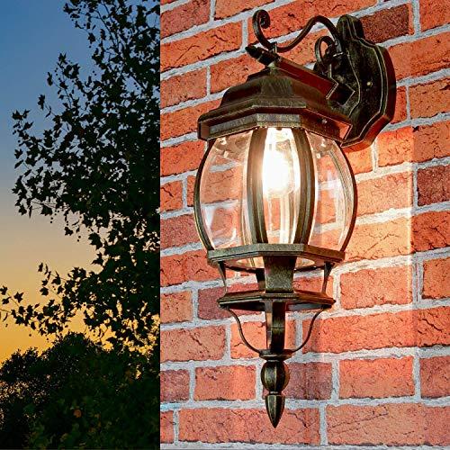 Rustikale Wandleuchte in antikgold inkl. 1x 12W E27 LED Wandlampe aus Aluminium Glas für Garten Terrasse Garten Terrasse Lampe Leuchten Beleuchtung außen