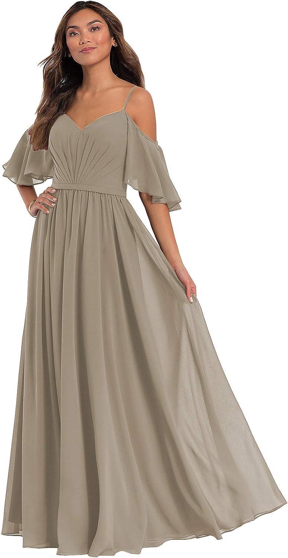 KKarine Women's Spaghetti Straps Long Chiffon Bridesmaid Dress Off The Shoulder Formal Evening Gown