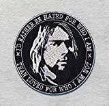 Cobain Quotes Patches 90s Vintage Grunge Icon Music American Rock Band Embroidered Iron on Sew Badge Patch for Backpacks, Jackets, Jeans, Hats, etc.