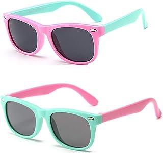 Gafas de sol flexibles de goma polarizadas para niños para niñas de 3 a 10 años de edad