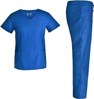 V Neck Women Nursing Scrubs Set - Pandamed Nurse Slim Scrubs Medical Uniforms Multiple Pockets Set JY3301