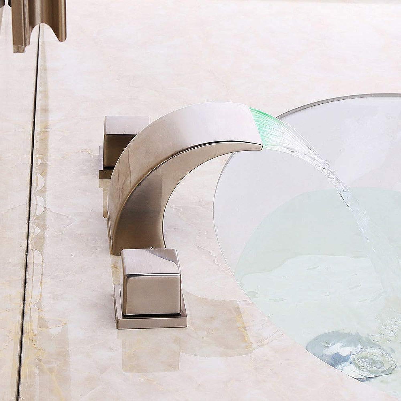 Wasserhahnbad Waschbecken Wasserhhne Zeitgenssische Wasserfall Led-Licht Messing Becken Wasserhahn Waschbecken Wasserhahn, Ohne Led