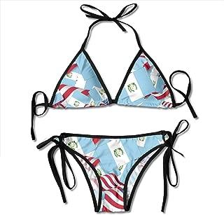 Women's Triangle Bikini Guatemala Flag with America Flag Swimsuits Padded Adjustable Strap Black