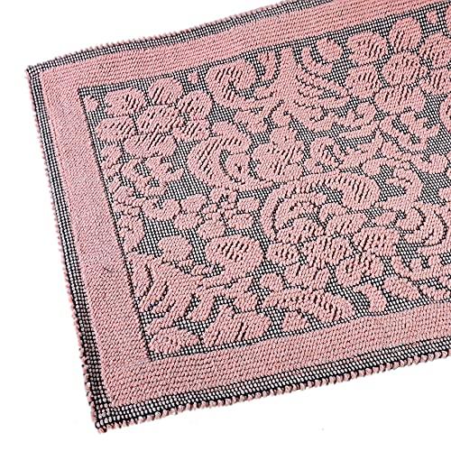 Angelo Carillo Teppich Sardinia Rosa und Schwarz 60 x 105 cm