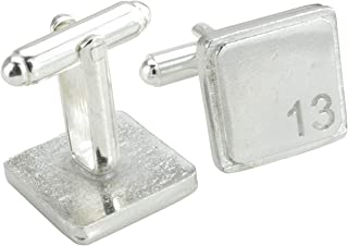 Square Cufflinks with '13' Engraved - 13th Anniversary
