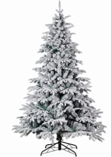 Good Life Christmas Tree PE PVC Premium Hinged Deluxe Artificial Fir Flocked Snow White (7.5` FT, Flocked)