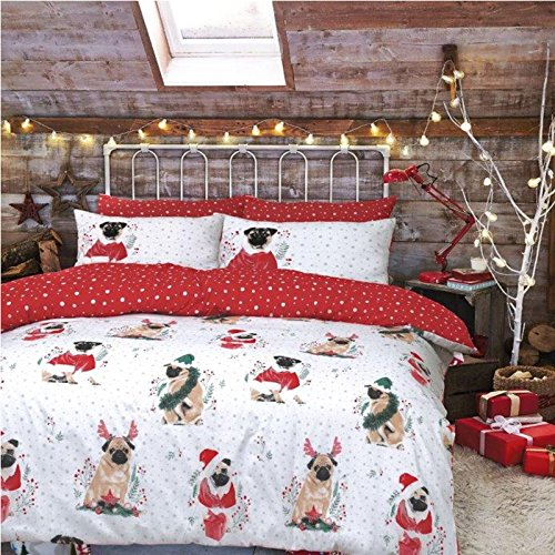Christmas Kids Xmas Duvet Set Bed Festive Quilt Cover Santa Snowman Elf Bedding[Festive Pug,King Size]