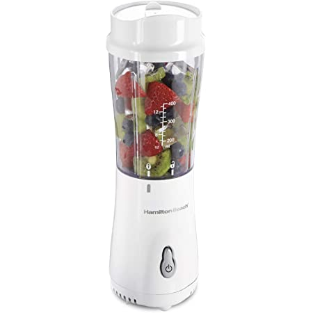Hamilton Beach Personal Blender for Shakes and Smoothies with 14oz Travel Cup and Lid, White (51101V)