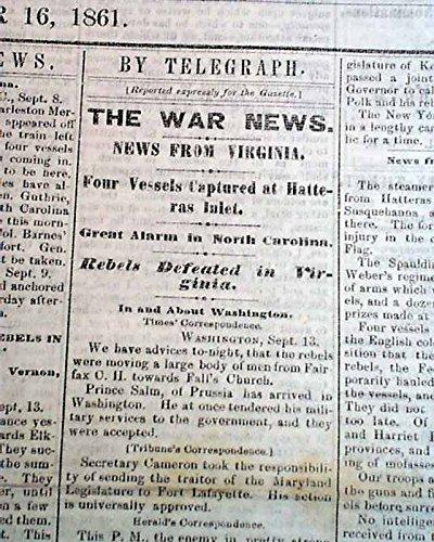 Rare DAVENPORT Iowa Civil War Era w/ Battle of Cheat Mountain WV 1861 Newspaper DAVENPORT DAILY GAZETTE, Iowa, September 16, 1861