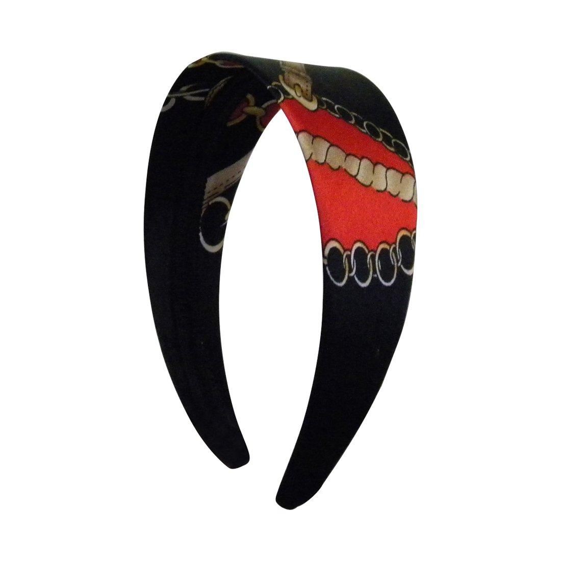 2 Inch Satin Headband with Gold Chain Design