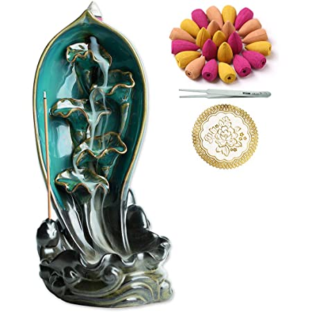 Inone - Bruciatore di incenso in ceramica con 150 coni, porta-incenso a cascata, ornamento per aromaterapia, decorazione zen, per la stanza e la casa