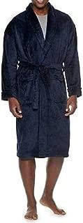 Croft & Barrow Mens Adult Black or Navy Blue Solid Plush Knee Length Winter Robe