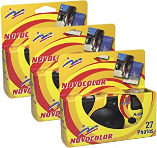 Novocolor – Disposable Cameras with Flash (27 Exposures with Flash) Pack of 3