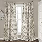"Lush Decor, Gray Geo Trellis Curtains Room Darkening Window Panel Drapes Set for Living, Dining, Bedroom (Pair), 84"" x 54 84' x 54'"