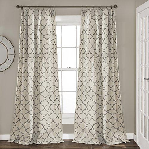 "Lush Decor, Gray Geo Trellis Curtains Room Darkening Window Panel Drapes Set for Living, Dining, Bedroom (Pair), 84"" x 54 84"" x 54"""