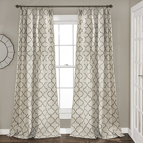 "Lush Decor, Gray Geo Trellis Curtains Room Darkening Window Panel Drapes Set for Living, Dining, Bedroom (Pair), 84"" x 54 84"" x 54"""