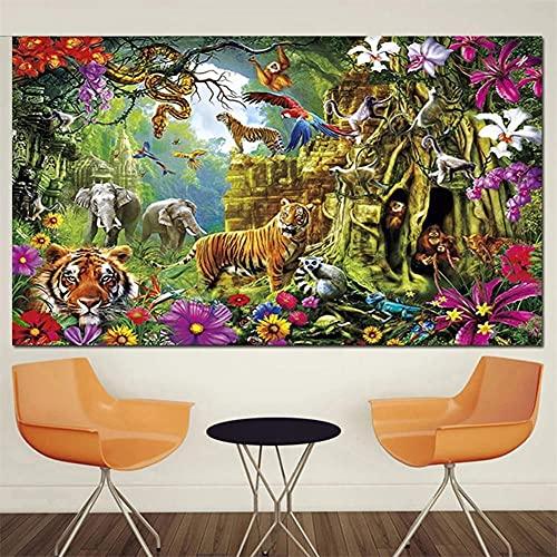 5D Diamond Painting Large Size Full drill Kits Animal World 100x200cm DIY Pintura de Diamante Rhinestone bordado de punto de cruz artes manualidades para decoración de la pared del hogar