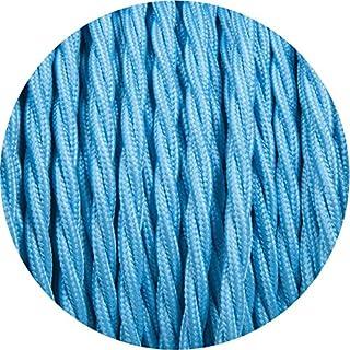 Cable trenzado redondo trenzado de 3 núcleos de 10 metros, 2 núcleos, de alambre de tela flexible vintage, alta calidad, iluminación, de Reino Unido, tela, azul claro, 3Core Twisted, vintage cable