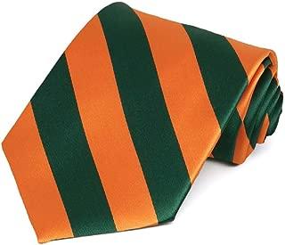 Hunter Green and Orange Striped Tie