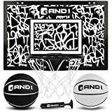 "AND1 Mini Basketball Hoop: 18""x12"" Pre-Assembled Portable Over The Door with Flex Rim, Includes Two Deflated 5"" Mini Basketball with Pump, for Indoor, White/Black"
