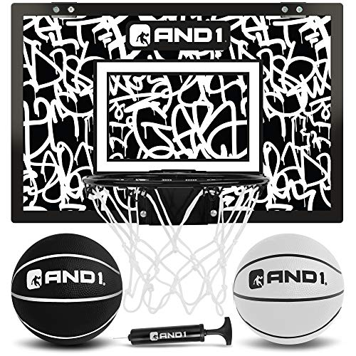 """AND1 Over The Door Mini Hoop: - 18""""x12"""" Pre-Assembled Portable Basketball Hoop with Flex Rim, Includes Two Deflated 5"""" Mini Basketball – White/Black"""