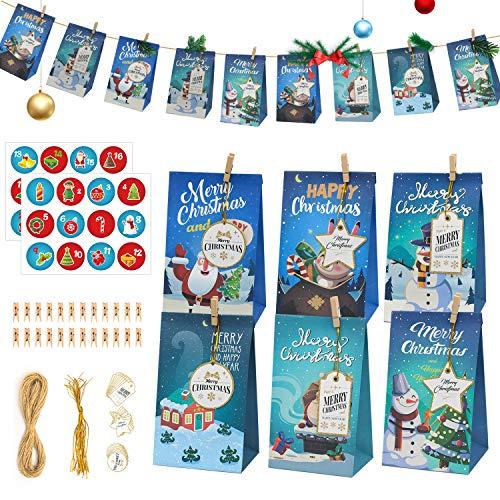 Halcyerdu 24 Pcs DIY Calendario de Adviento Navidad, Bolsas de Regalo Navidad, con 24 Adhesivos Digitales de Adviento, Bolsas de Papel Kraft navideño