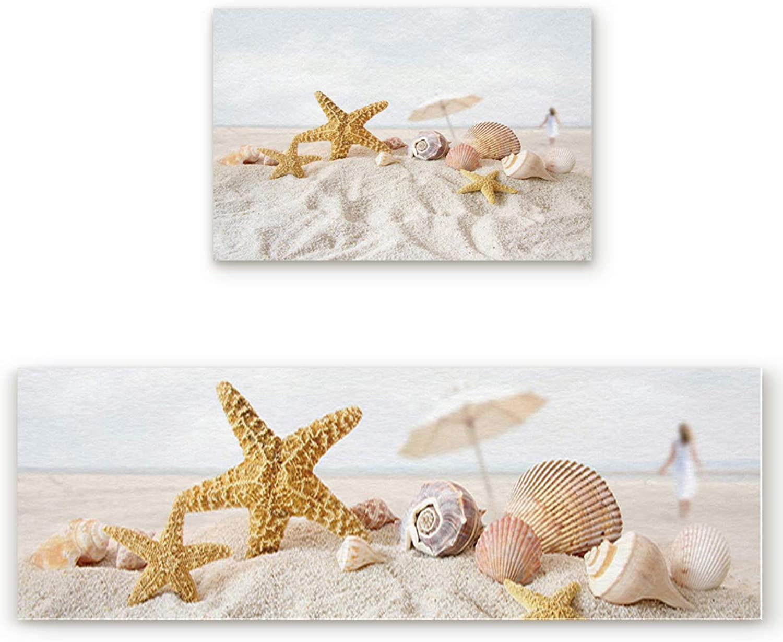 2 Piece Non-Slip Kitchen Bathroom Entrance Mat Absorbent Durable Floor Doormat Runner Rug Set - Unique and Generic Pearls Starfish Seashell