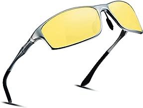 Soxick Night Driving Glasses, HD Vision Yellow Lens Polarized Anti Glare Fashion Sunglasses Men & Women