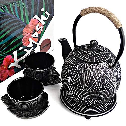 KIYOSHI Luxury 7PC Japanese Tea Set.'Black Geo' Cast Iron Tea Pot with 2 Tea Cups, 2 Saucers, Loose Leaf Tea Infuser and Teapot Trivet. Ceremonial Matcha Accessories and Iron Anniversary Gifts