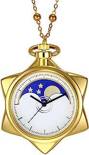 Sailor Moon Fashion Rhinestone Gold Star Cosplay Quartz Pocket Watch Girl Women Necklace Accessories