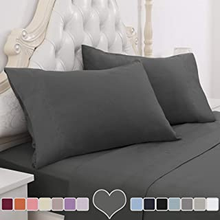 Janvi Linen Sale Today ONLY! On Amazon 1200 Thread Count Soft Egyptian Cotton Sheet Set DEEP Pocket, Queen, Grey Solid, Premium Italian Finish (Features : Fully Elastic Fitted Sheet Fits 4-6