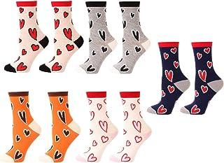 Holibanna, 5 Pares de Calcetines con Estampado de Corazones de Amor Calcetines de Algodón Transpirables Calcetines Suaves Y Cálidos para Mujeres Y Niñas