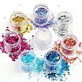 Purpurina Naler para uñas o maquillaje facial, brillante, para festival, carnaval, Halloween, fiestas y decoración (8cajitas, 8colores)