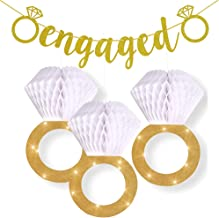 Engagement Party Decorations|Bridal Shower Supplies| Honeycomb Ring Hanging Decorations,Glitter Gold Diamond Ring((3pcs),Engaged Banner Gold Glittery Letters and Diamond Ring for Party Decorations