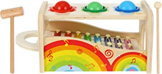 STOBOK Hammering Pounding Toys Wooden Pounding Bench Kids Pound Tap Bench with Slide Out Xylophone Montessori Musical Toy ...