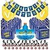 誕生日パーティー用品セット ゲームテーマ (98ピース) - 24個のチャグボトルラベル、24個のゲームパーティドロップボックス、24個のカップケーキトッパー(12スタイル)、1つの誕生日パーティーバナー、24個のバルーン、1リボン付き