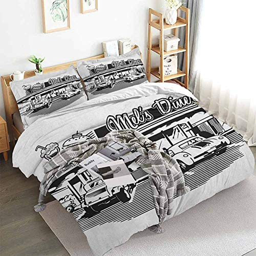 Aishare Store Retro Duvet Cover Set,Nostalgic Illustration of Retro Diner Restaurant with Vintage Cars Back in Fifties,Decorative 3 Piece Bedding Set with 2 Pillow Shams,Queen(90'x90') Black White