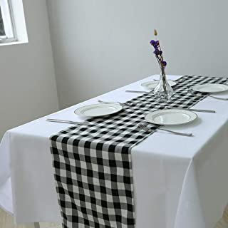 Zdada Black & White Plain Check Polyester Tablerunner-12x132-inch Washable Checkered Table Runner for Outdoor Picnic Camping
