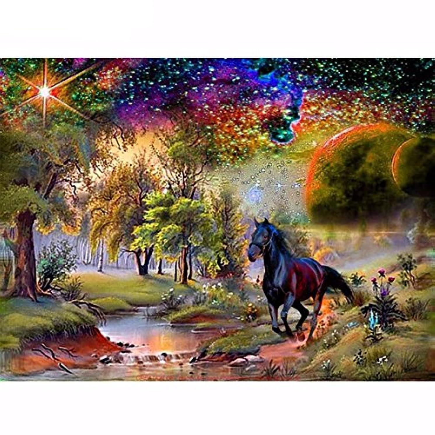 New 5D DIY Diamond Painting Black Horse Embroidery Full Diamond Cross Stitch Landscape Rhinestone Mosaic Painting Decor
