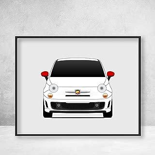 Fiat 500 Abarth Poster Print Wall Art Decor Handmade 500c 500e 2007 New 500 Nuova 500