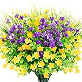 WXBOOM Artificial Flowers 9 Bundles Fake Outdoor Flowers UV Resistant Faux Shrubs Plants for Hanging Planter Home Decoration Wedding Porch Window Decor (3 Yellow, 3 Purple, 3 Green)
