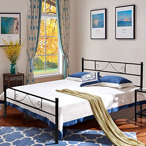 Aingoo Bed Frame Double Bed Metal Reinforced Bed 4ft 6 Metal Platform Beds with Headboard and Footboard for Kids Adults Guest Fits 135 * 190 cm Mattress Black