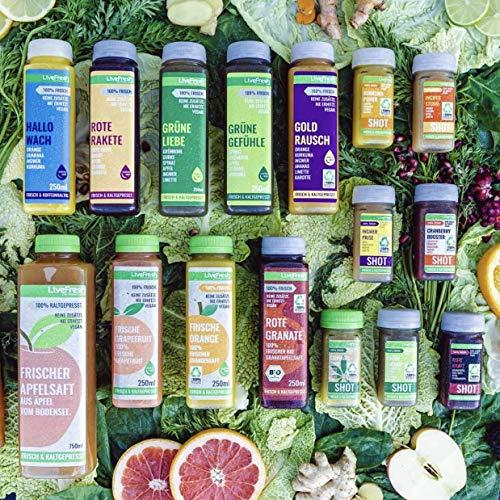 LiveFresh® Probierpaket ALLE Säfte & Shots [16 Säfte] - frisches Obst & Gemüse wie Ingwer, Kurkuma, Grünkohl, Guarana etc. - Schonend Kaltgepresst - Ohne Zucker & Zusätze